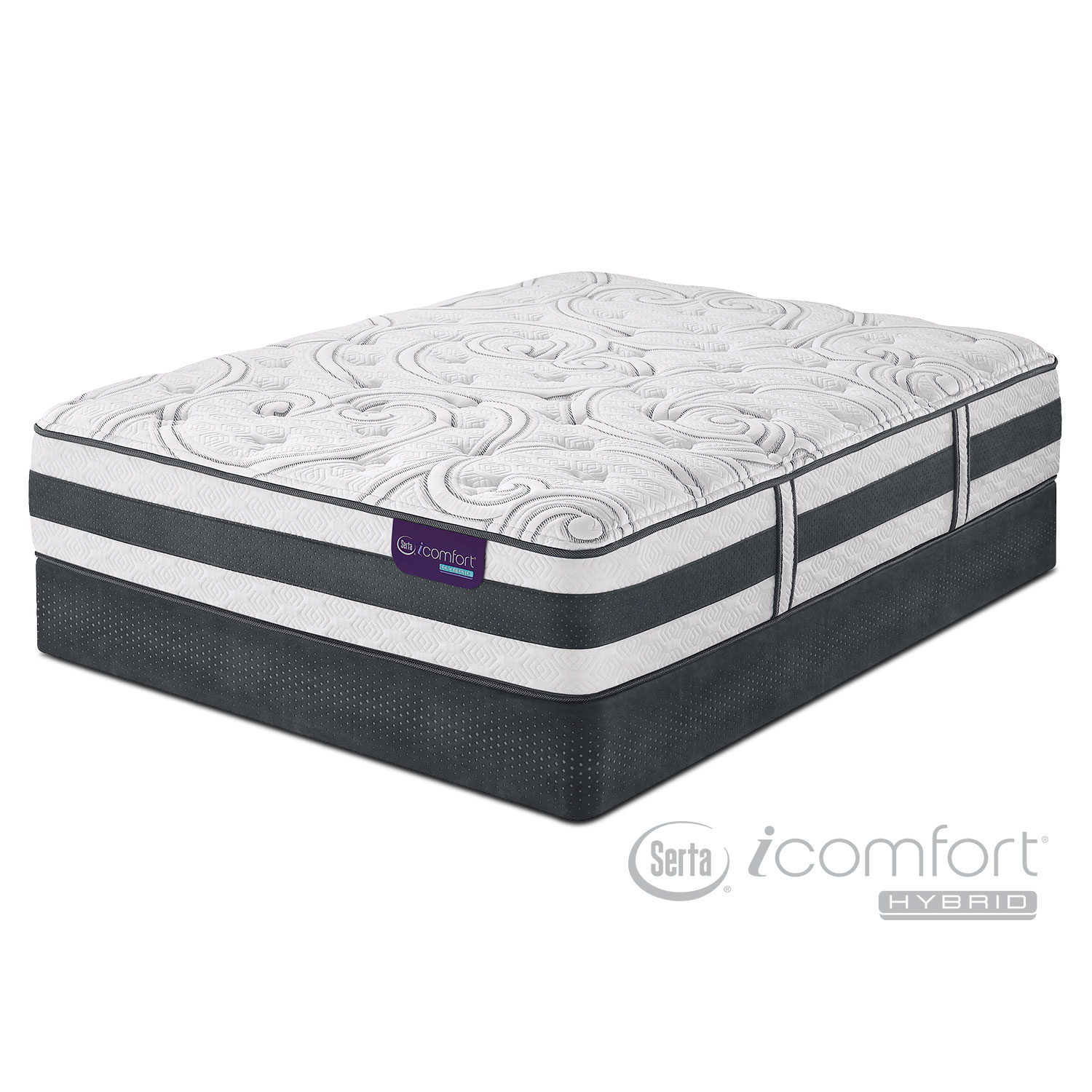 Mattresses and Bedding - Applause II Plush Queen Mattress/Low-Profile Foundation Set
