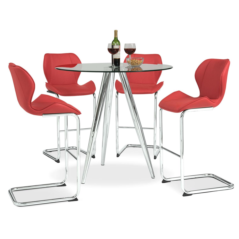 Dining Room Furniture - Metropolitan 5-Piece Dinette - Red