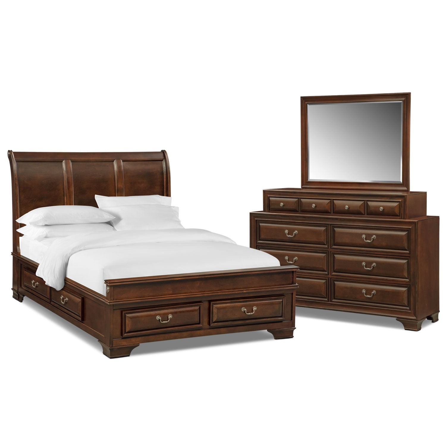 Bedroom Furniture - Sanibelle 5-Piece Queen Storage Bedroom - Mahogany