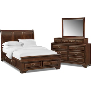 Sanibelle 5-Piece Queen Storage Bedroom - Mahogany