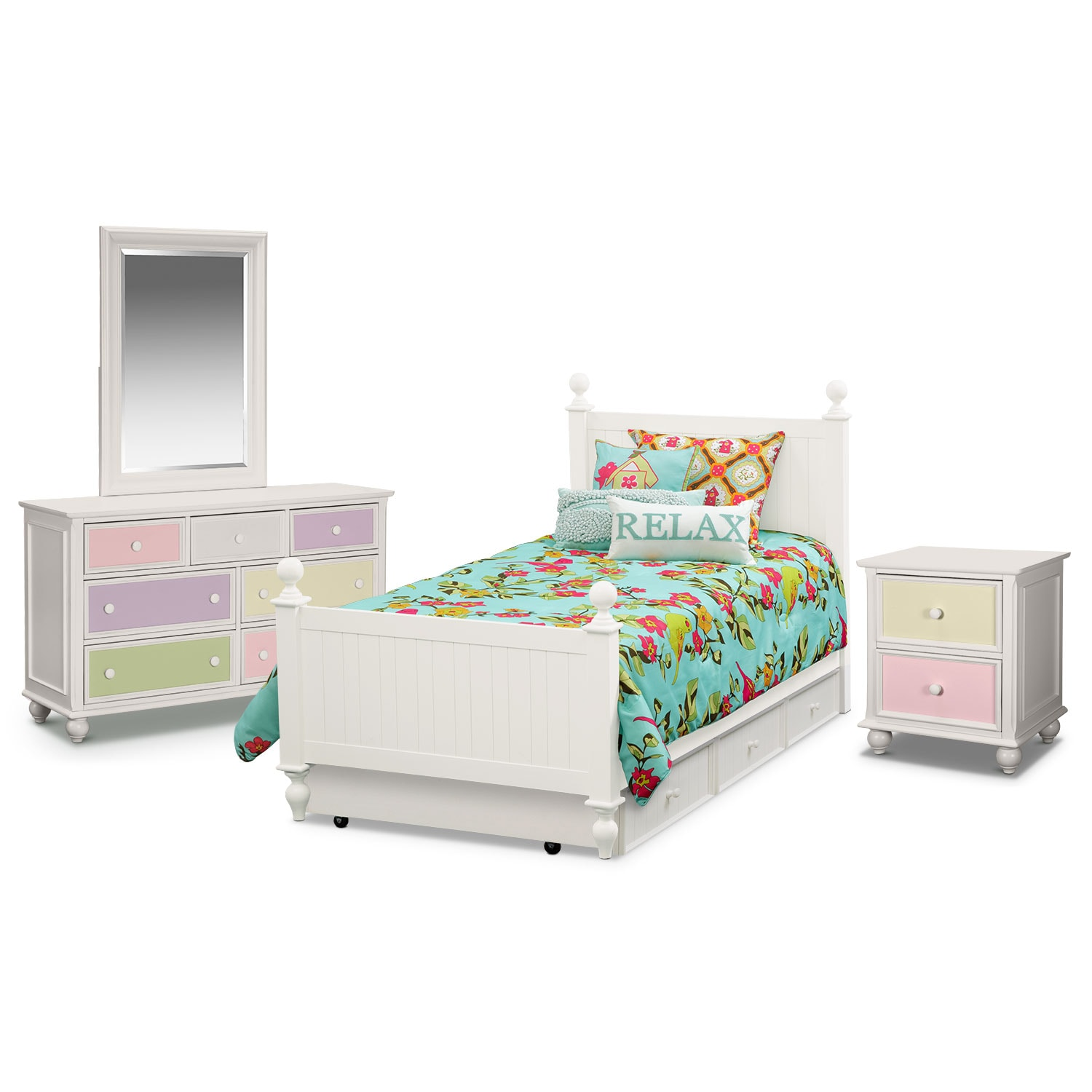 Kids Furniture - Colorworks 7-Piece Twin Bedroom Set with Trundle - White