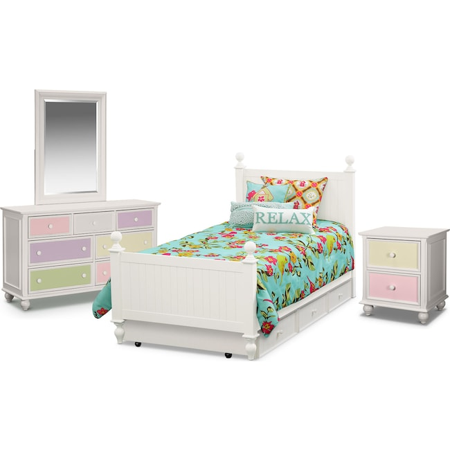 Kids Furniture - Colorworks 7-Piece Bedroom Set with Trundle, Nightstand, Dresser and Mirror