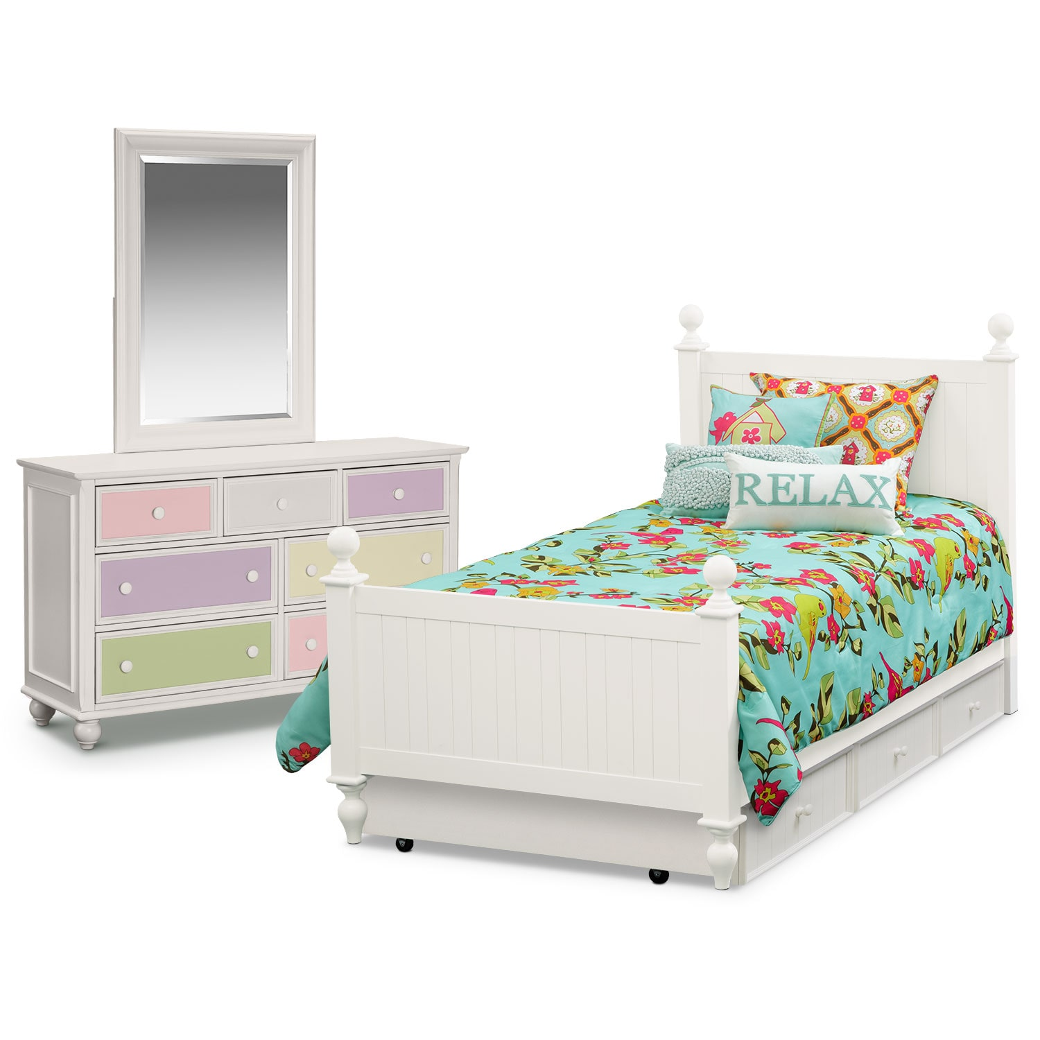Kids Furniture - Colorworks 6-Piece Twin Bedroom Set w/ Trundle - White