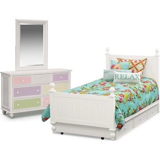 Colorworks 6-Piece Full Bedroom Set with Twin Trundle - White