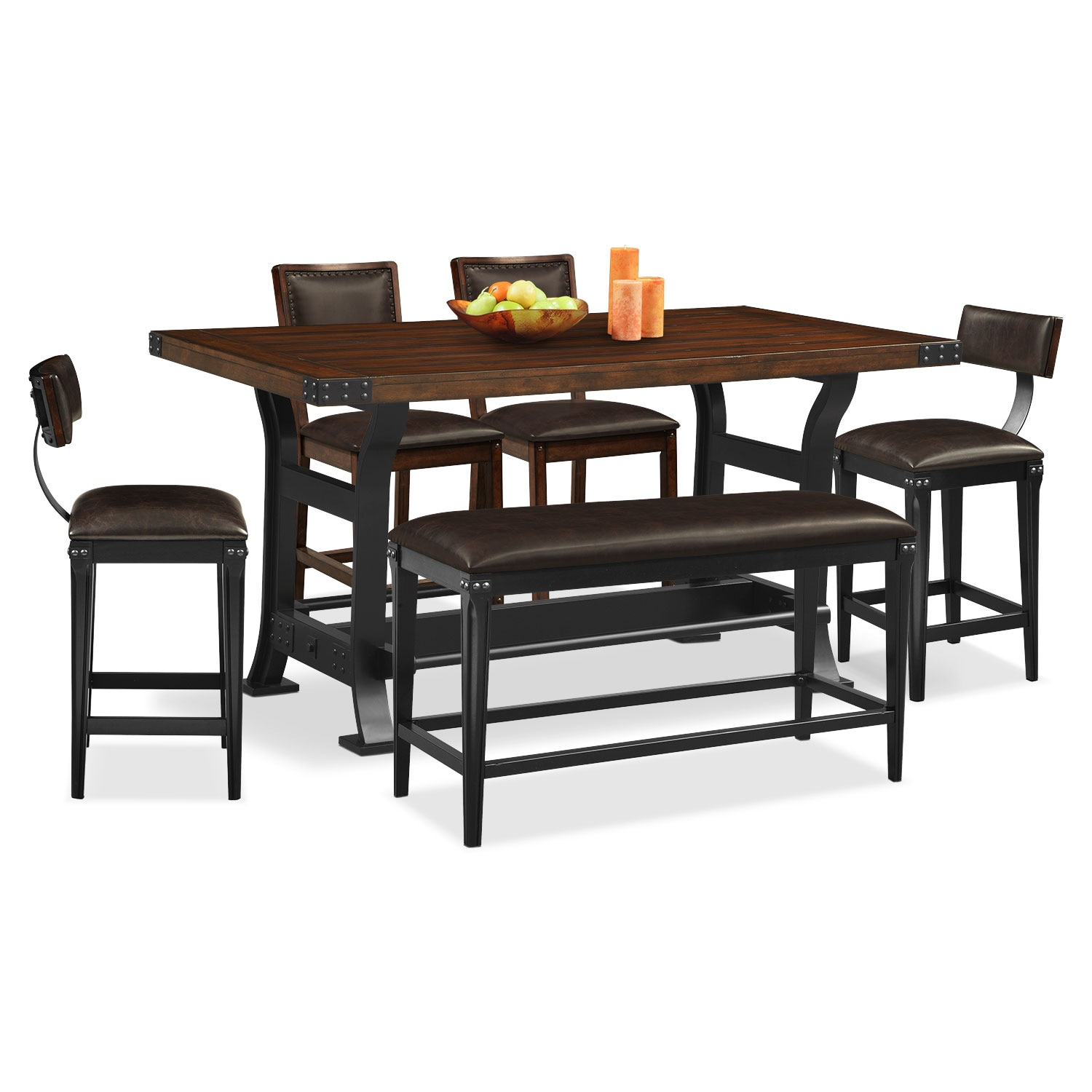Dining Table With Two Chairs: Newcastle Counter-Height Dining Table, 2 Chairs, 2 Stools