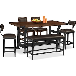 Newcastle Counter-Height Dining Table, 2 Chairs, 2 Stools and Bench - Mahogany