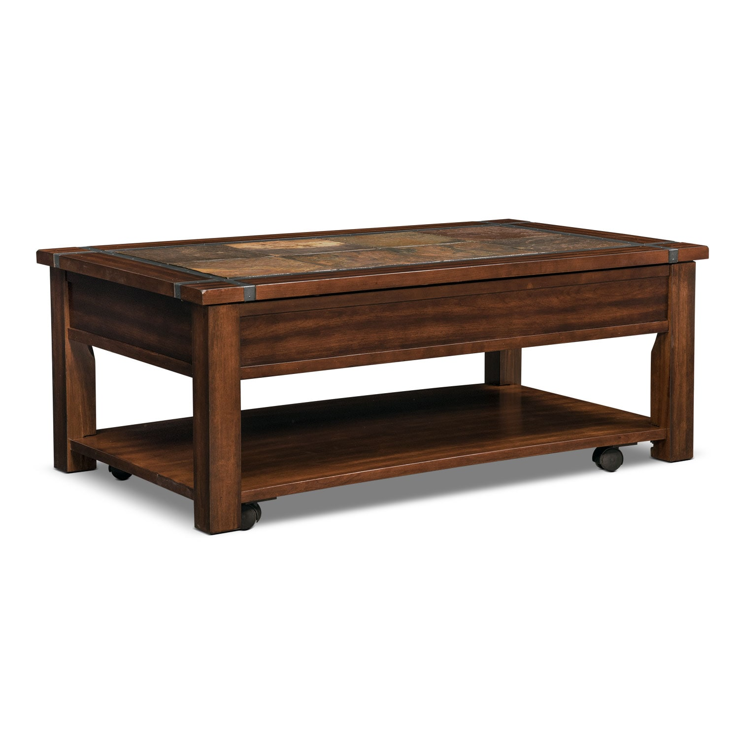Slate ridge lift top cocktail table cherry american for Cocktail tables and coffee tables