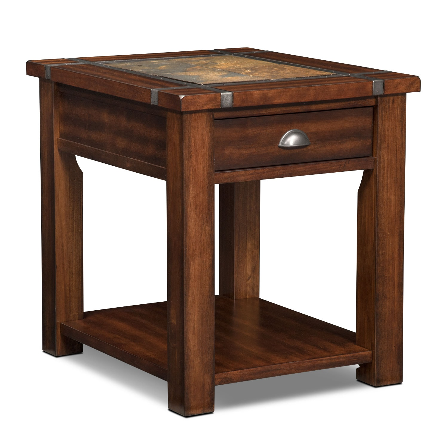 Slate Ridge End Table Cherry American Signature Furniture - Dining table with slate inlay