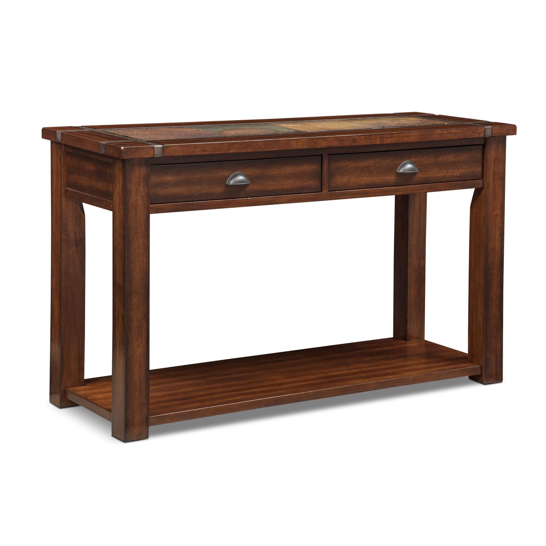 Slate ridge sofa table cherry american signature furniture for Sofa table cherry