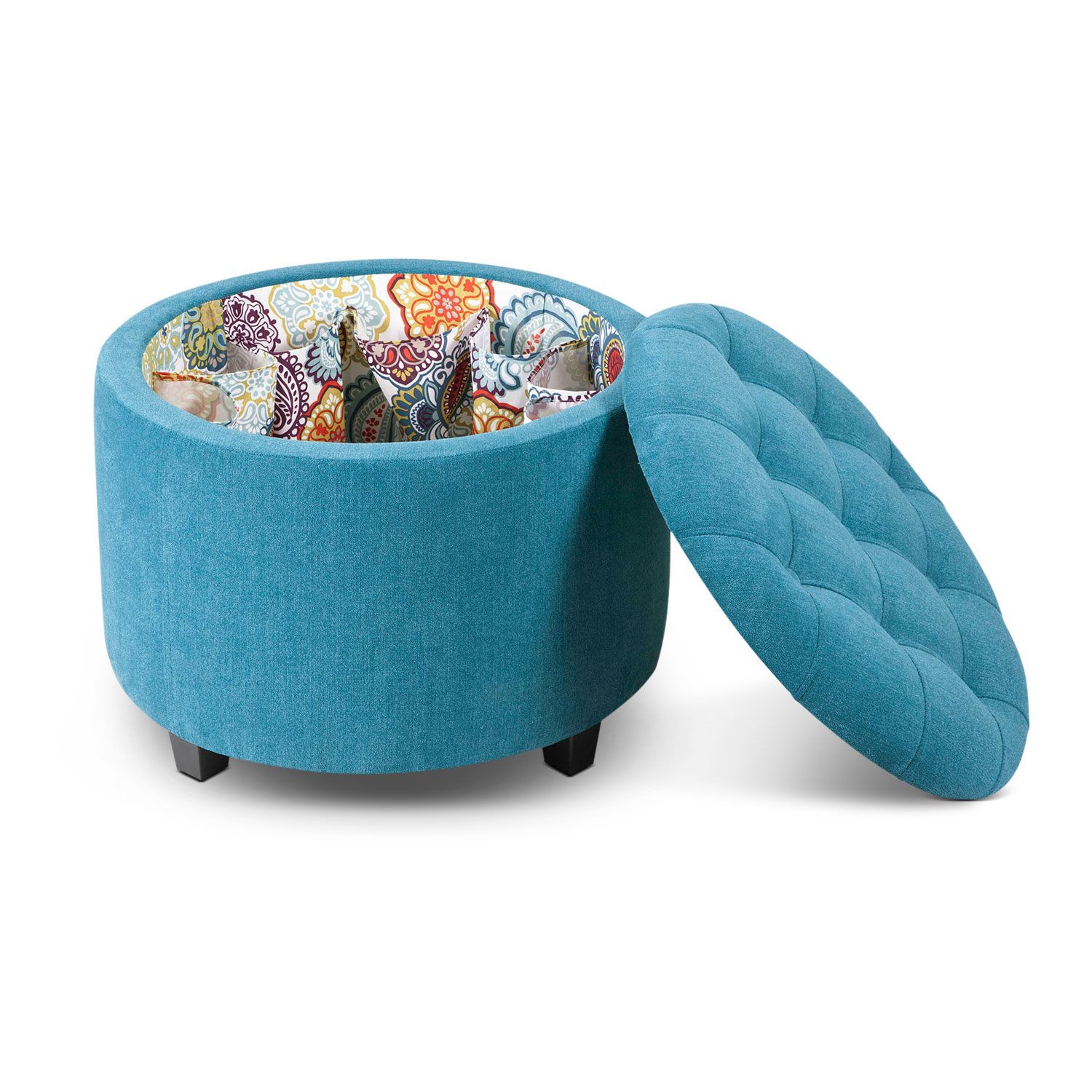 Accent and Occasional Furniture - Lisbon Ottoman with Shoe Holder - Teal