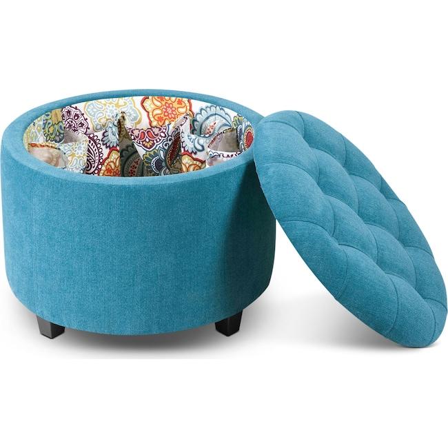 Living Room Furniture - Lisbon Ottoman with Shoe Holder - Teal
