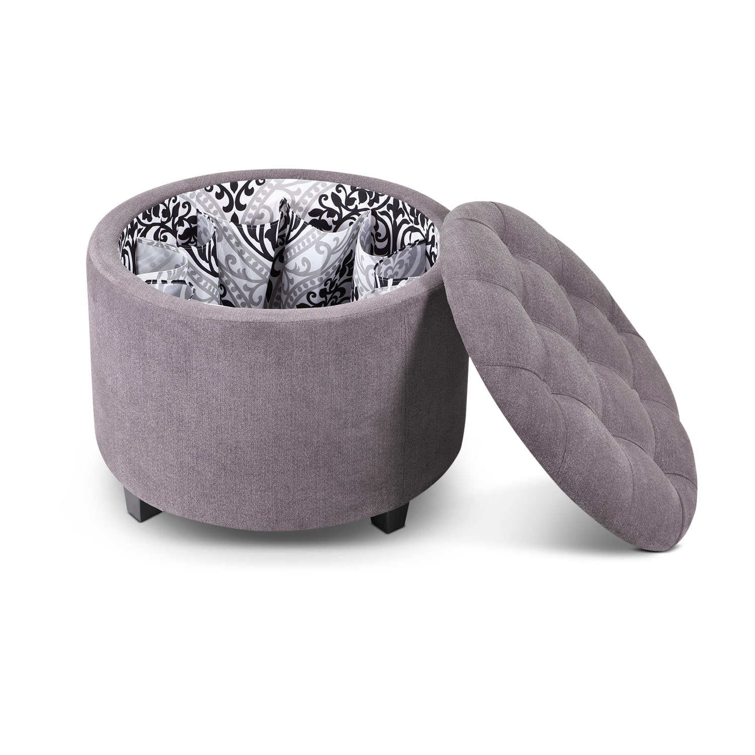 Lisbon Ottoman with Shoe Holder - Gray