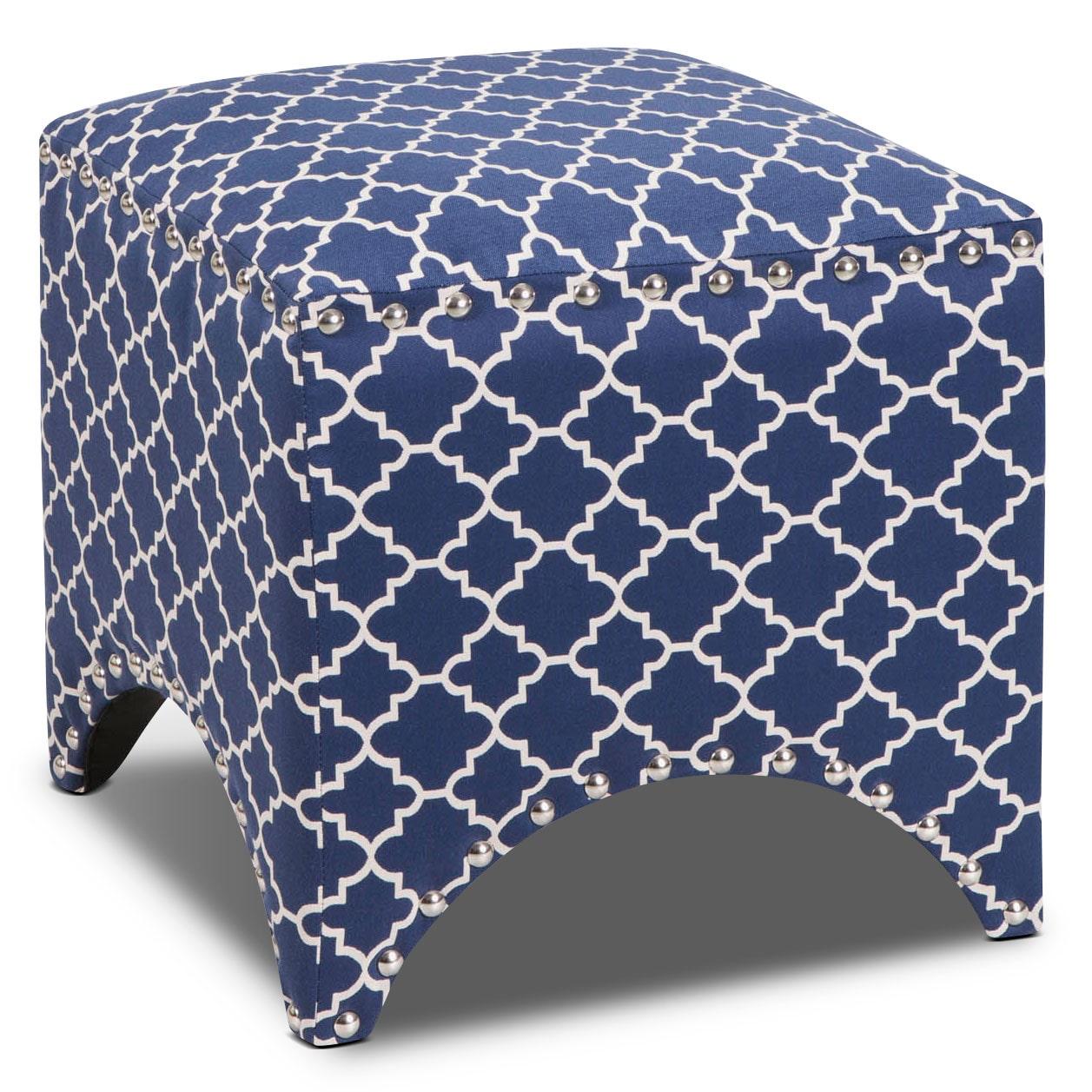 Living Room Furniture - Trek Ottoman - Blue