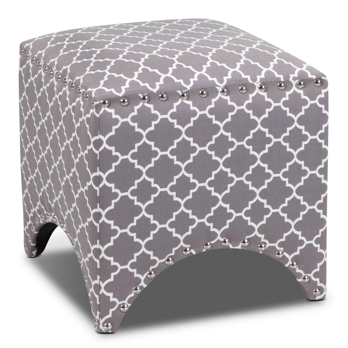 Living Room Furniture - Trek Ottoman - Gray