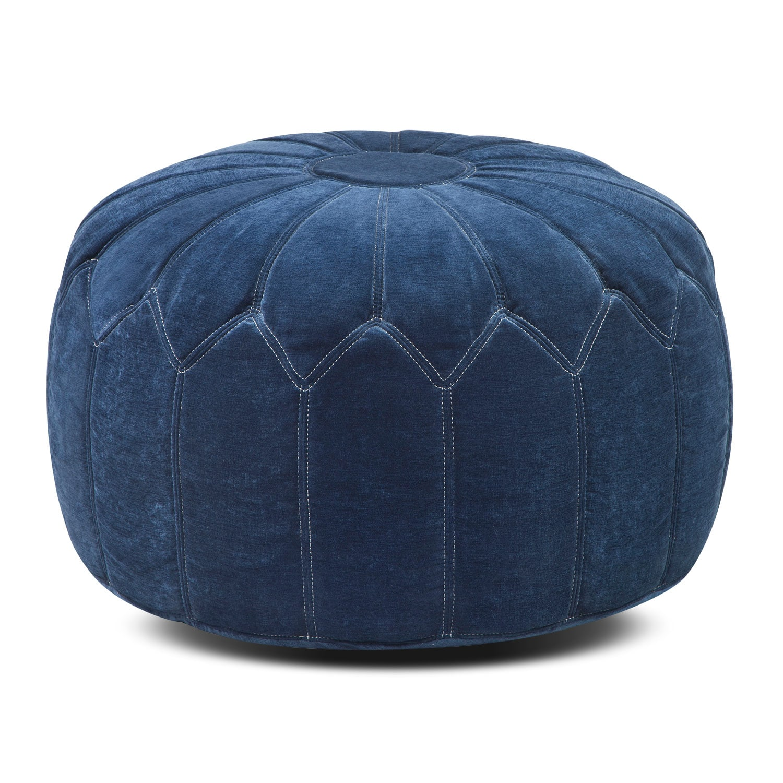 Living Room Furniture - Hobbs Pouf - Blue
