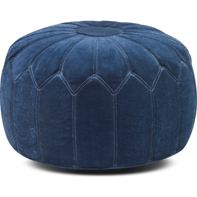 Living Room Furniture - Hobbs Pouf - Blue