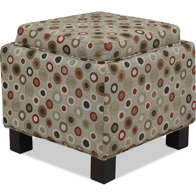Living Room Furniture - Hayes Storage Ottoman with 2 Pillows - Circles