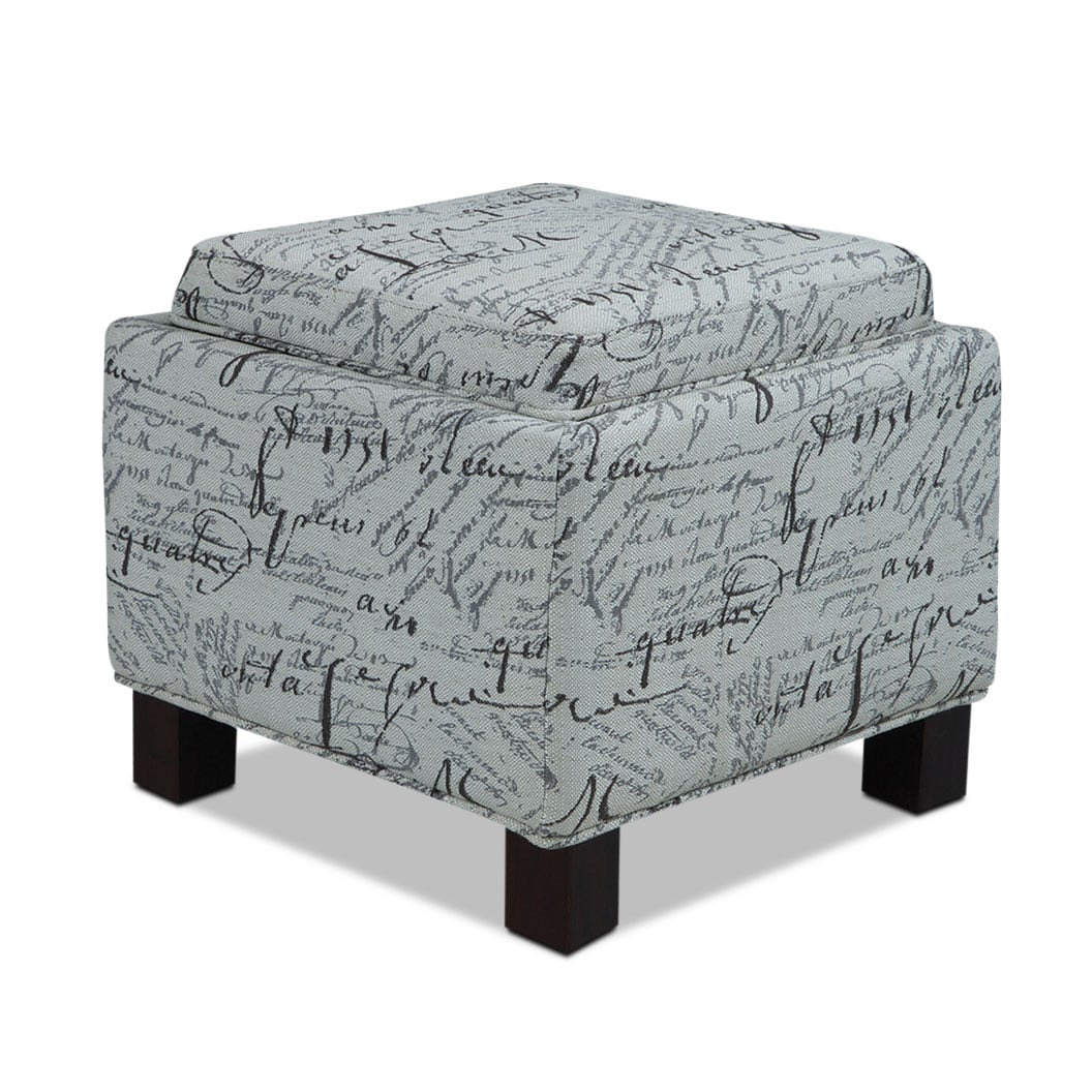 Living Room Furniture - Hayes Storage Ottoman with 2 Pillows - Script