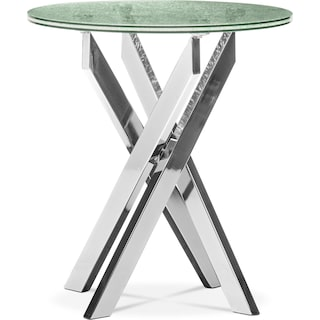 Celestial End Table - Glass and Chrome