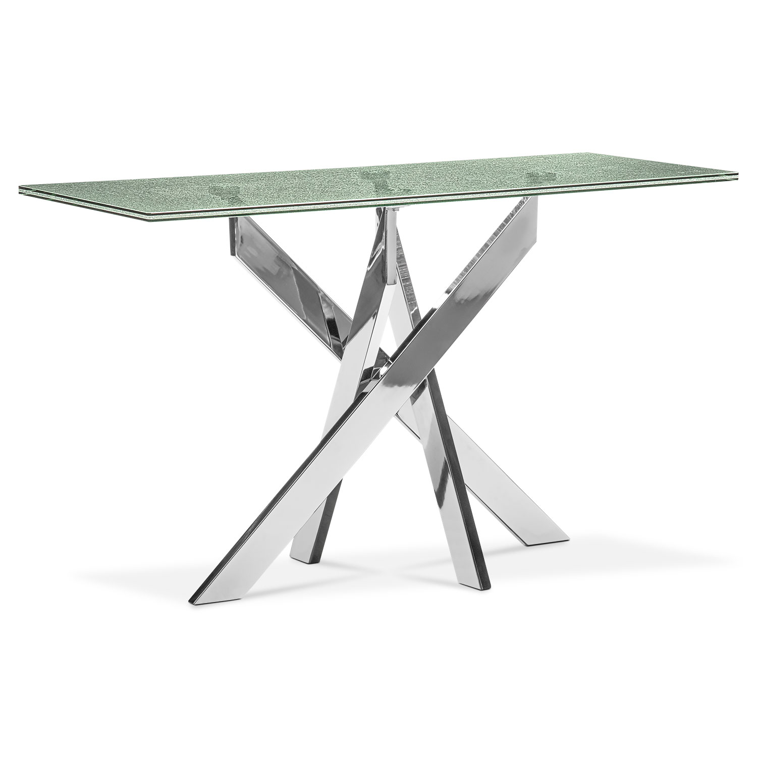 Celestial console table glass and chrome american for Sofa table glass replacement