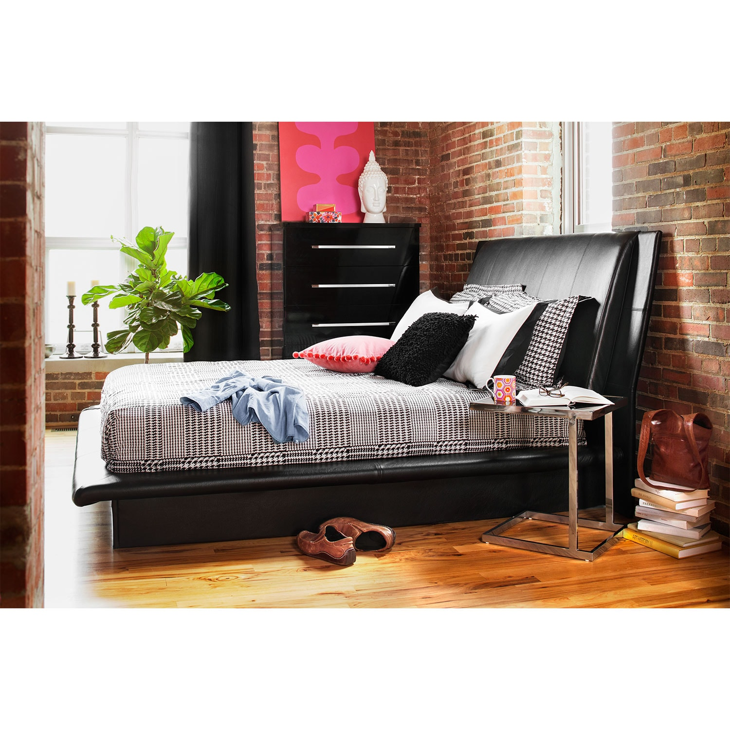 Dimora Queen Upholstered Bed Black American Signature Furniture