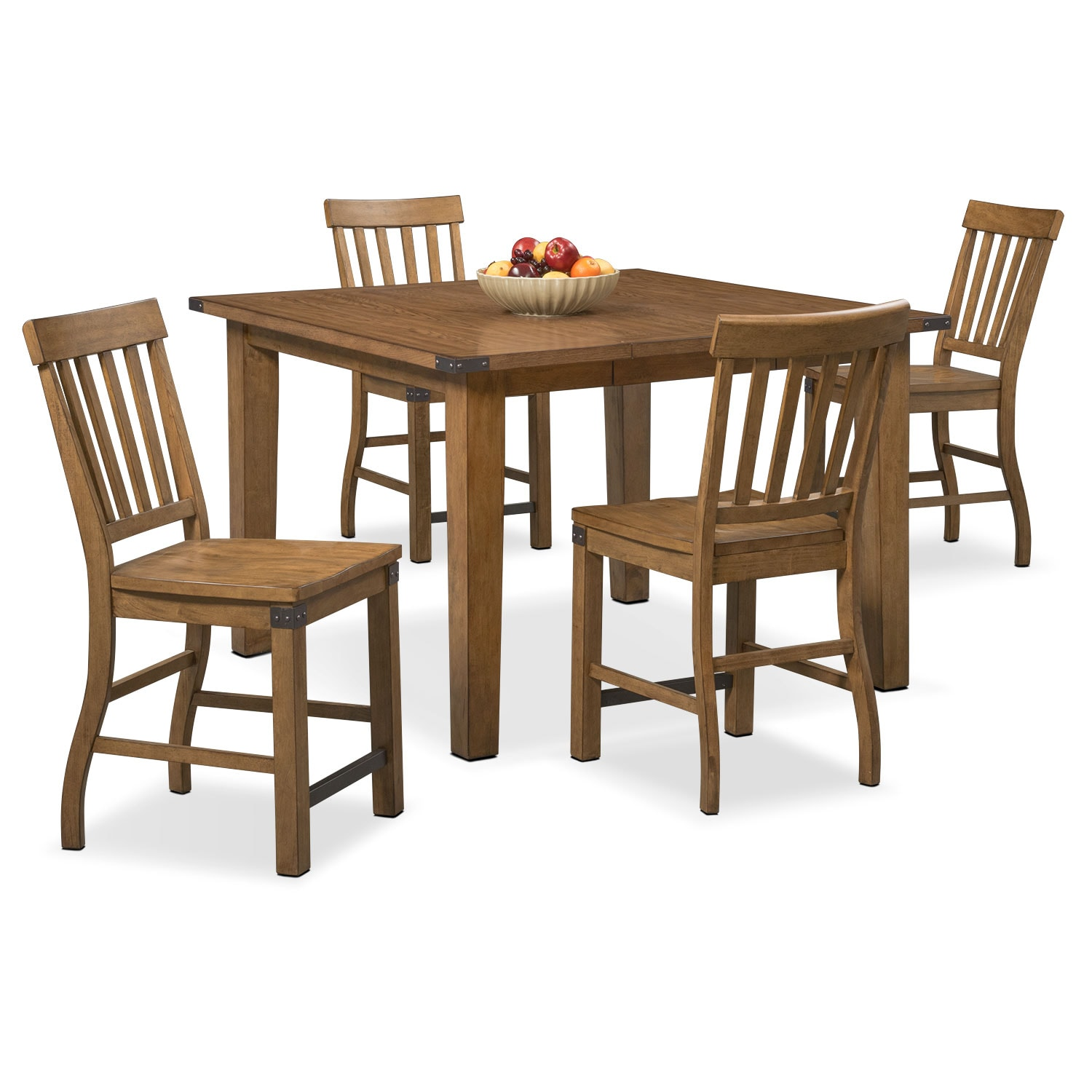 Dining Room Furniture - Salem Counter-Height Table and 4 Chairs - Pecan