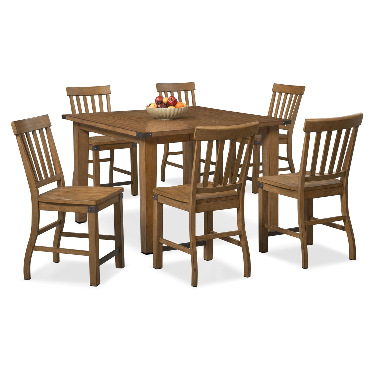 Dining Room Furniture - Salem Counter-Height Table and 6 Chairs - Pecan