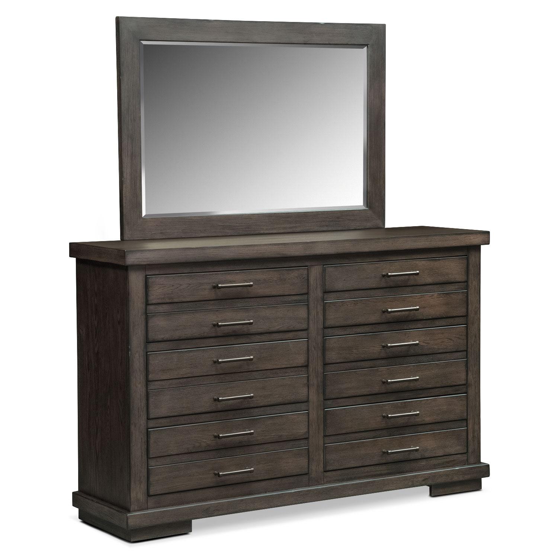 Bedroom Furniture - Jamestown Dresser and Mirror - Sable
