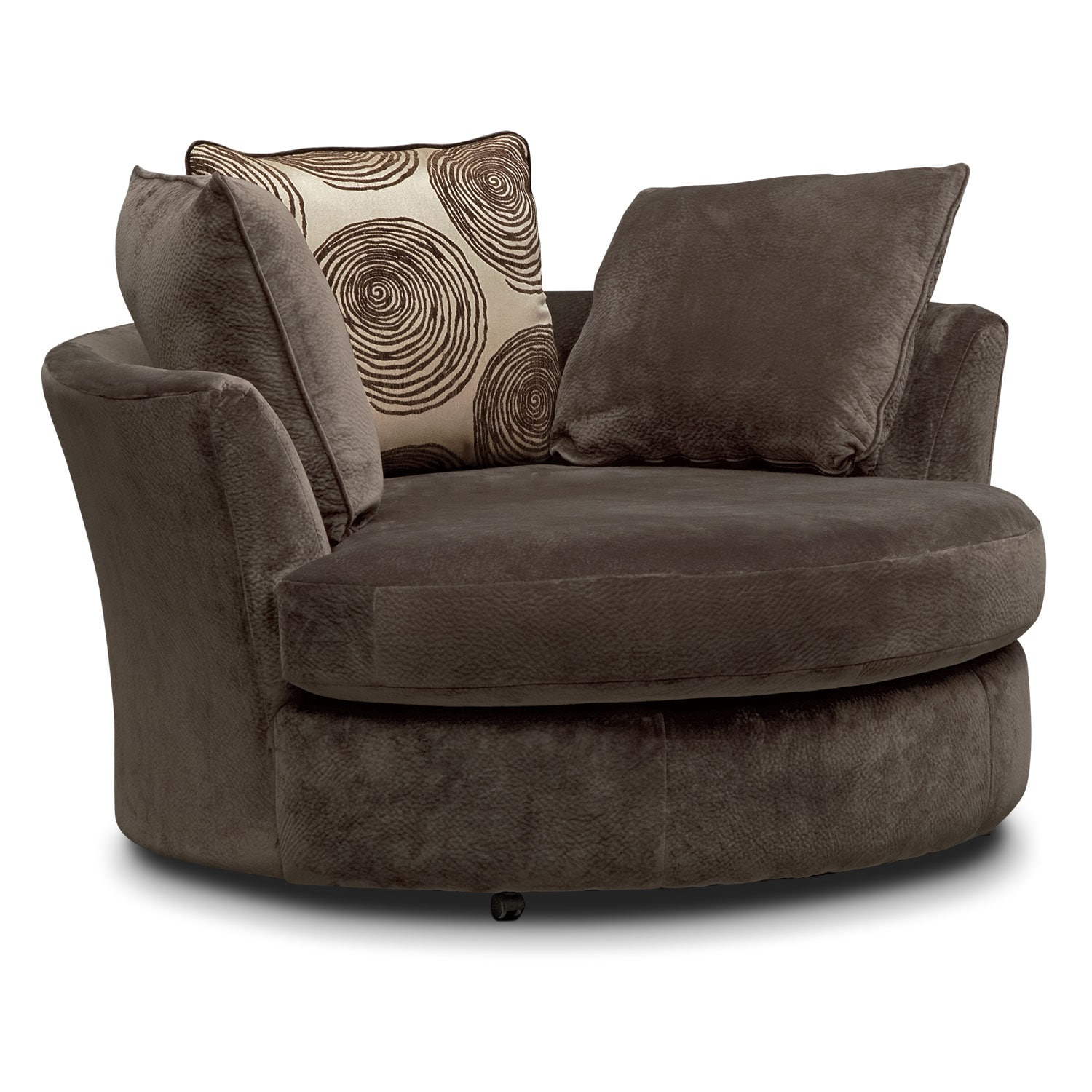 Cordelle swivel chair chocolate american signature for Furniture chairs