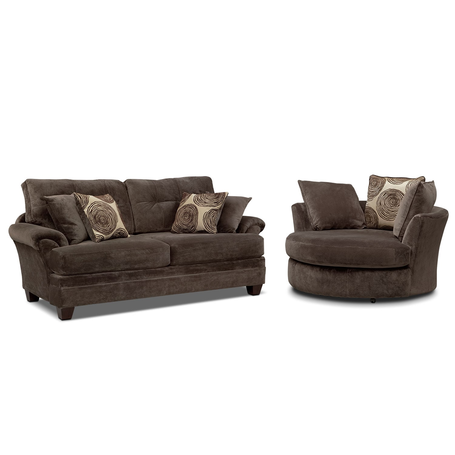 sofa and chair set Cordelle Sofa and Swivel Chair Set   Chocolate | American  sofa and chair set