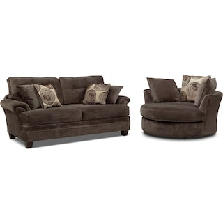 Cordelle Sofa and Swivel Chair Set - Chocolate