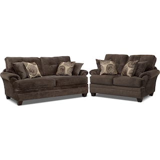 Cordelle Sofa and Loveseat Set - Chocolate