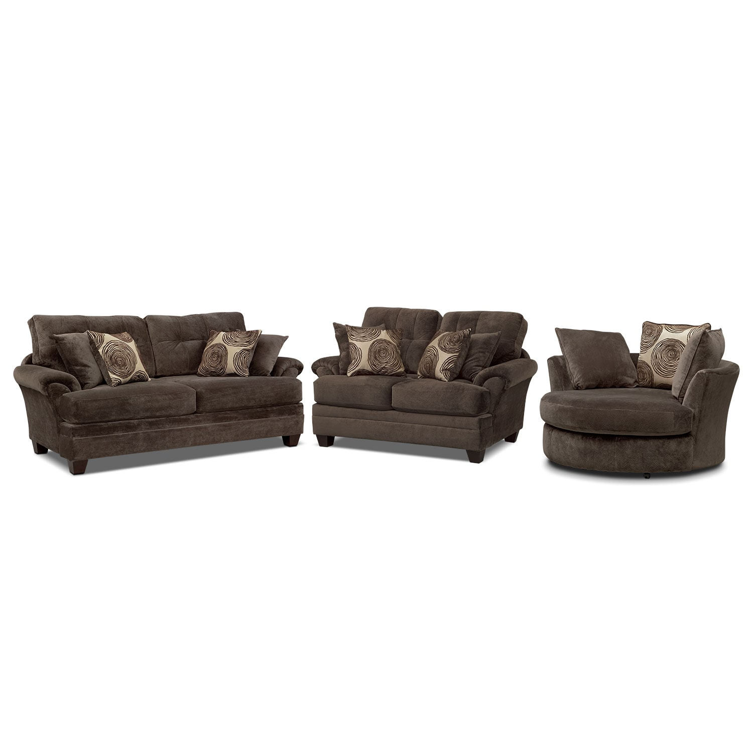 Living Room Furniture - Cordelle Sofa, Loveseat and Swivel Chair Set - Chocolate