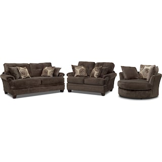 Cordelle Sofa, Loveseat and Swivel Chair Set - Chocolate