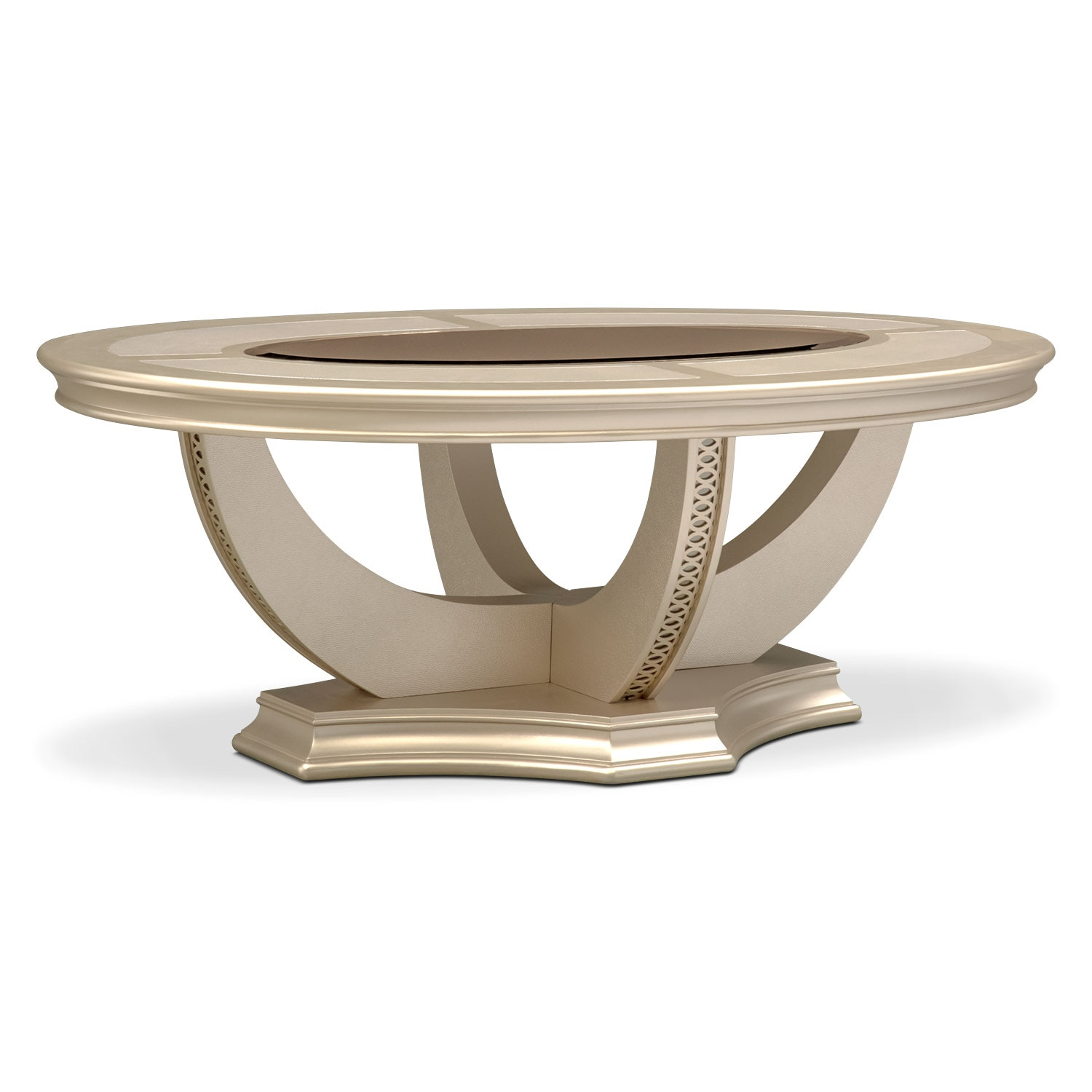 Allegro cocktail table platinum american signature for Living coffee table