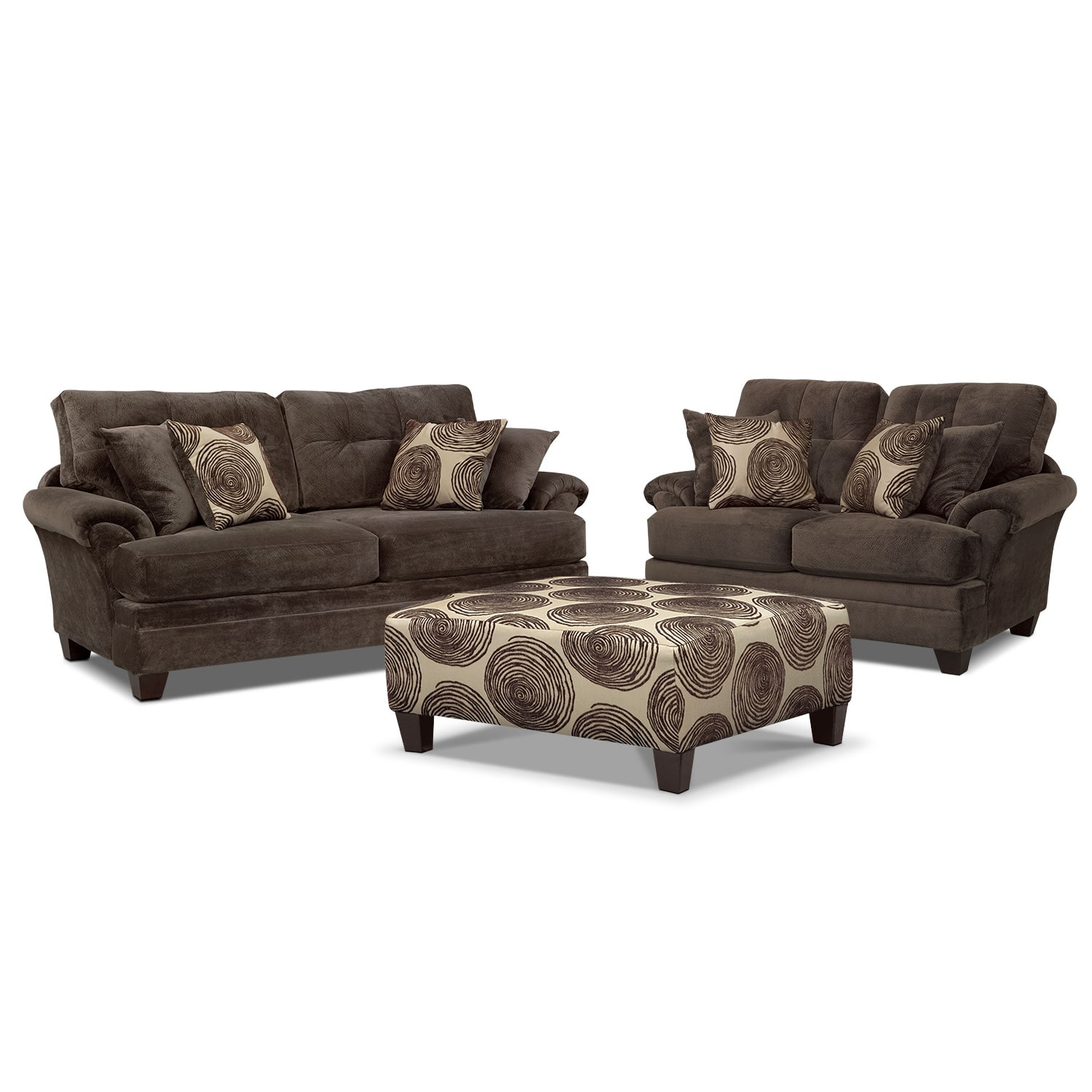 Exceptionnel Living Room Furniture   Cordelle Sofa, Loveseat And Cocktail Ottoman Set    Chocolate