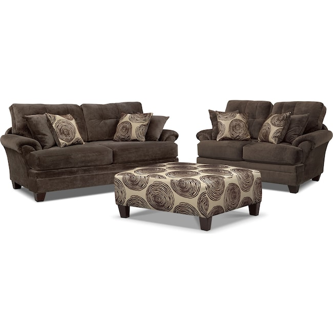 Living Room Furniture - Cordelle Sofa, Loveseat and Cocktail Ottoman Set - Chocolate