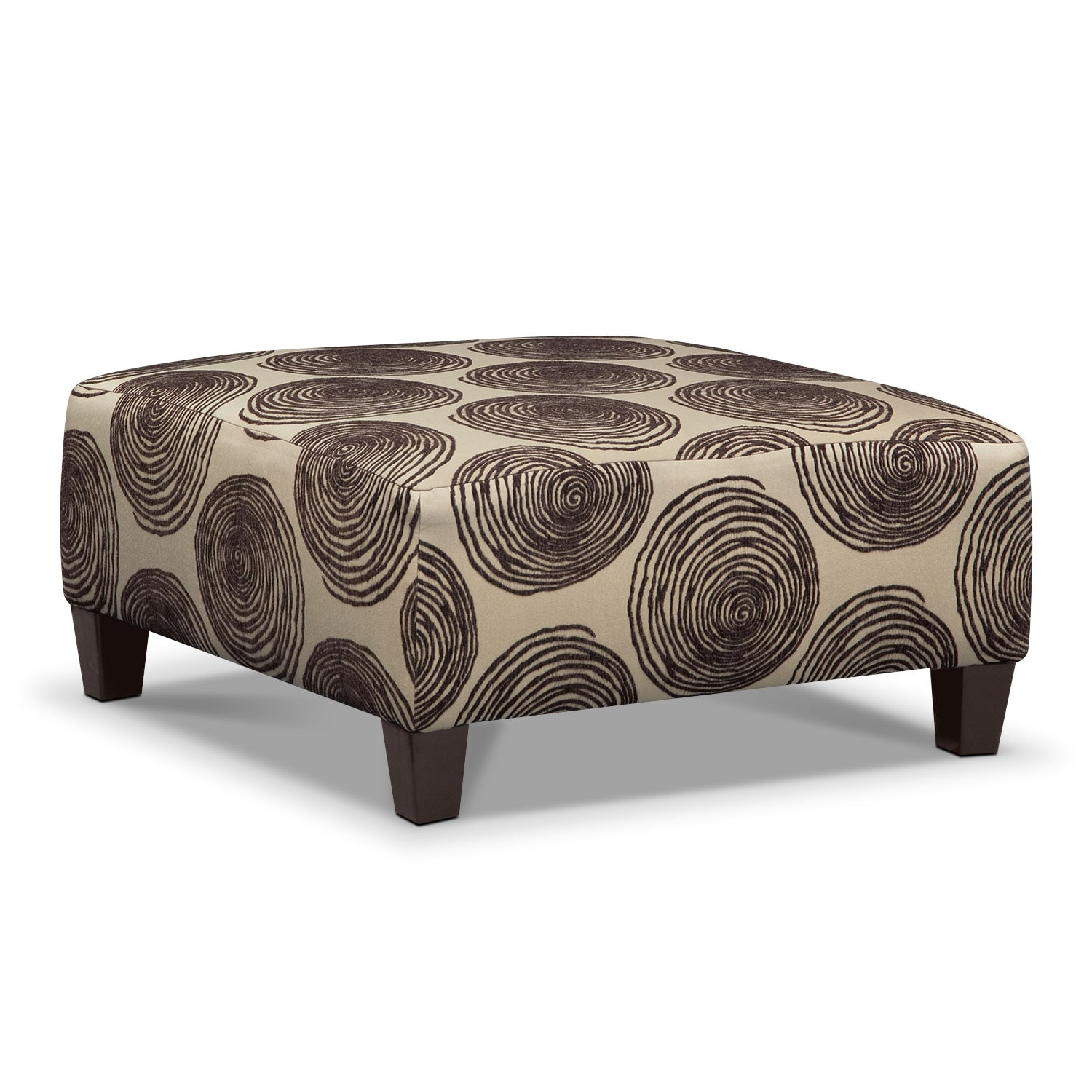 Living Room Furniture - Cordelle Cocktail Ottoman - Chocolate