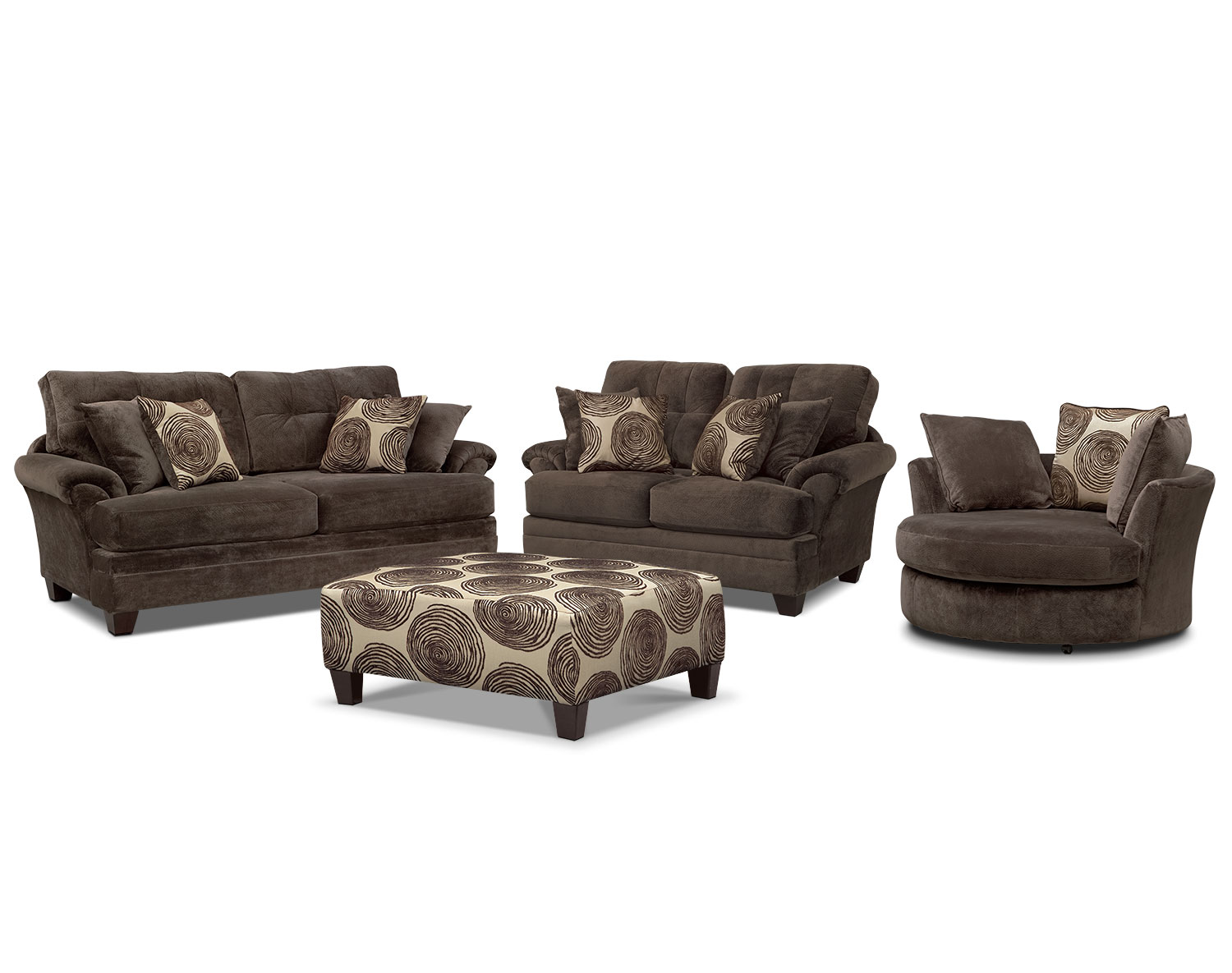 The Cordelle Living Room Collection - Chocolate