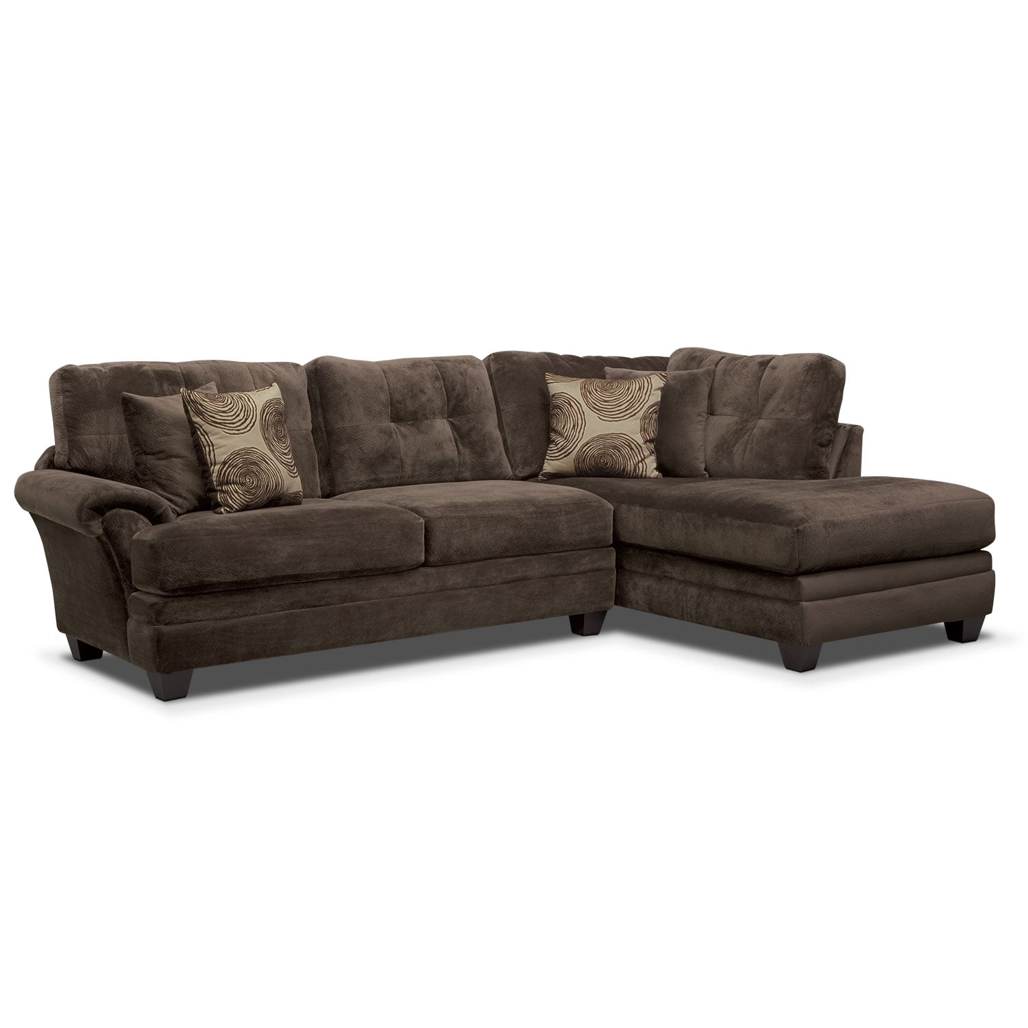 Cordelle 2 piece right facing chaise sectional chocolate for 2 piece sectional sofa with chaise