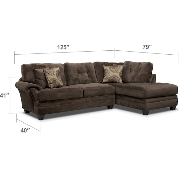 Living Room Furniture - Cordelle 2-Piece Right-Facing Chaise Sectional - Chocolate