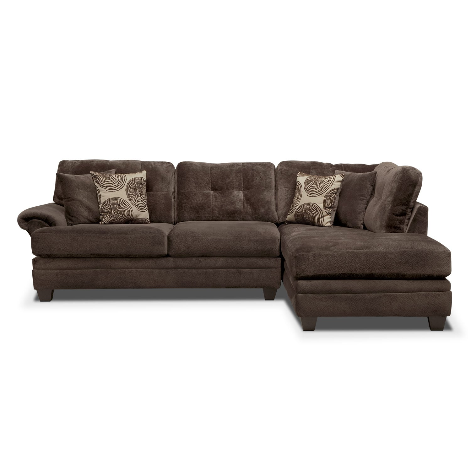 cordelle 2 piece right facing chaise sectional chocolate. Black Bedroom Furniture Sets. Home Design Ideas