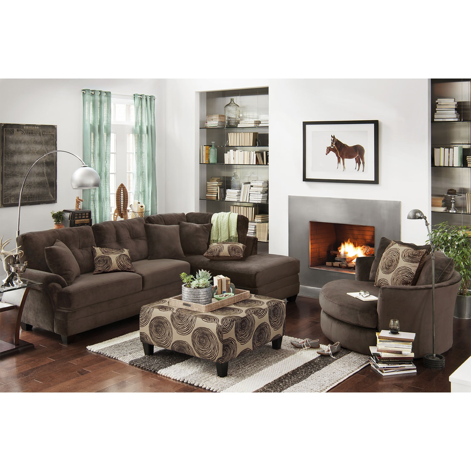 Furniture Com: Cordelle 2-Piece Sectional With Right-Facing Chaise