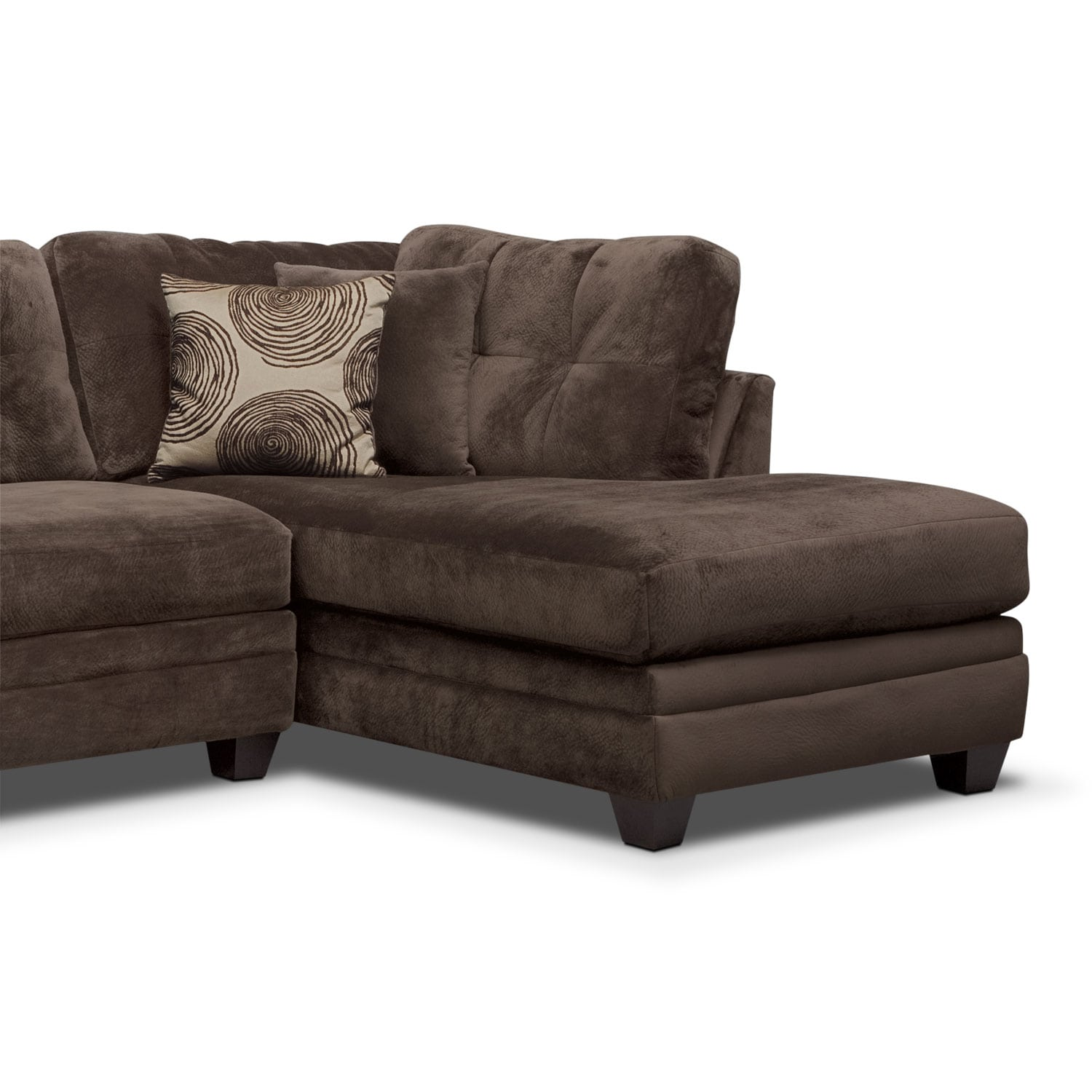 Cordelle 2 Piece Right Facing Chaise Sectional   Chocolate By Factory Outlet