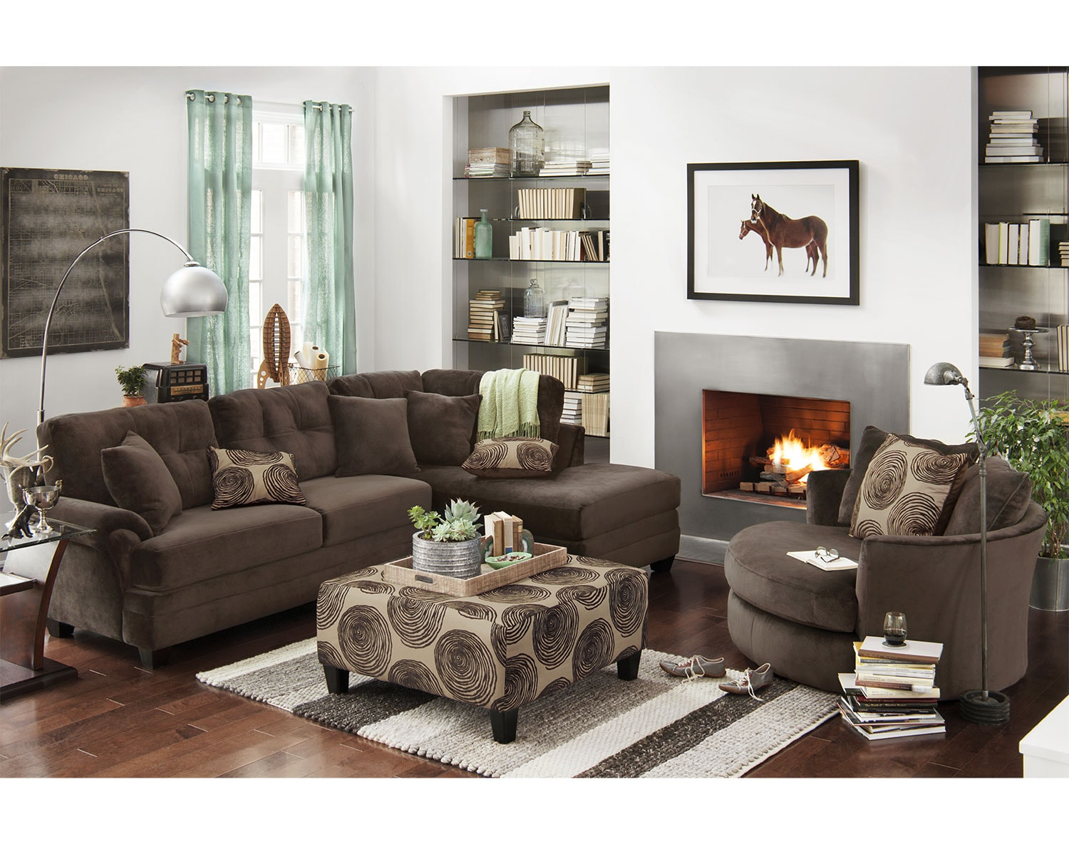 The Cordelle Sectional Collection - Chocolate