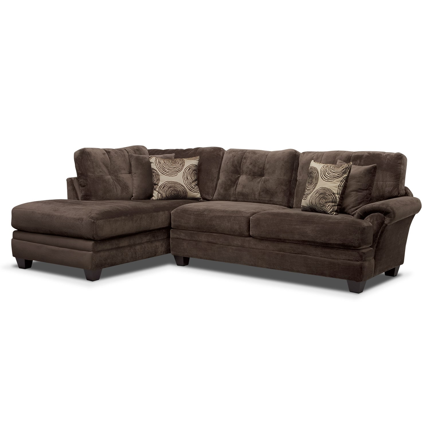 Cordelle 2 piece left facing chaise sectional chocolate for 2 piece sectional with chaise lounge