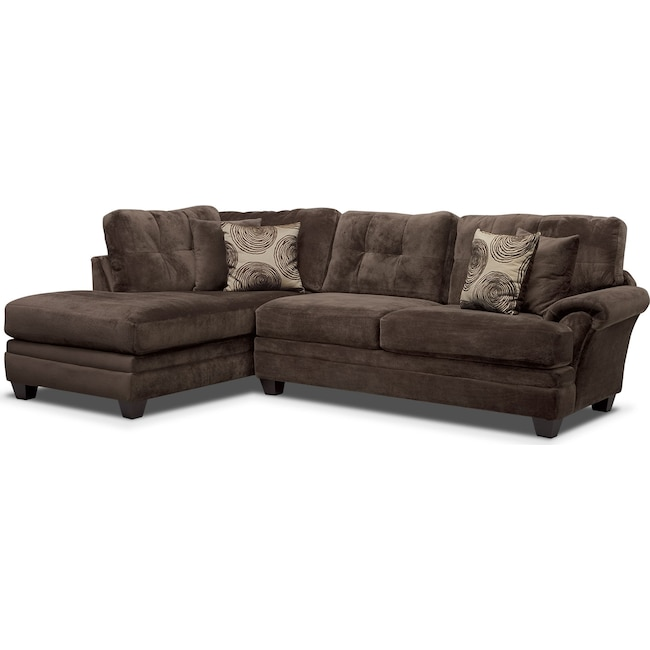 Living Room Furniture - Cordelle 2-Piece Sectional with Left-Facing Chaise - Chocolate