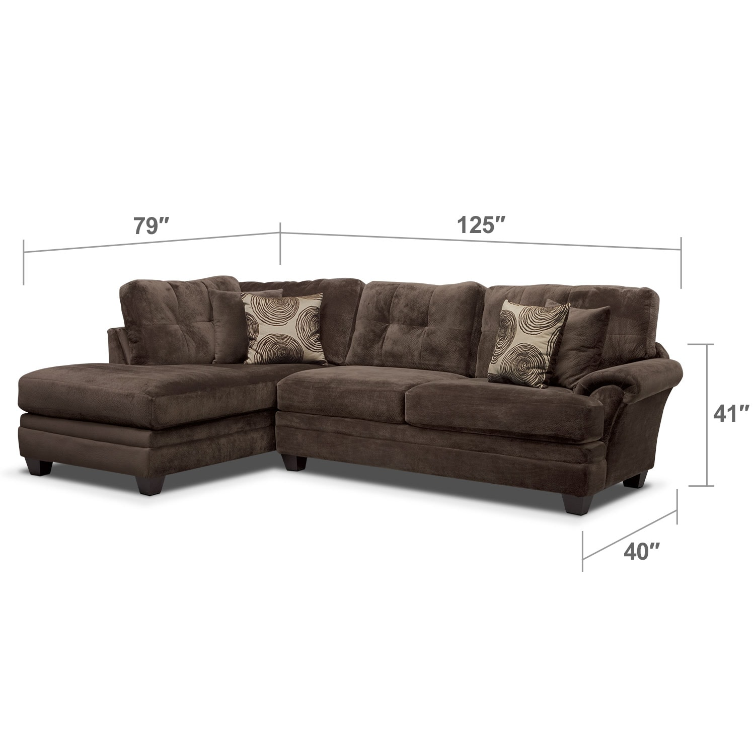 Living Room Furniture - Cordelle 2-Piece Left-Facing Chaise Sectional - Chocolate