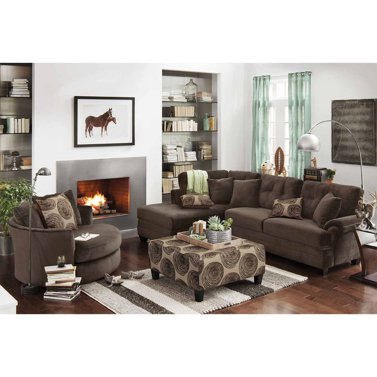 Living room furniture cordelle 2 piece sectional with chaise and cocktail ottoman set hover touch to zoom click to change image
