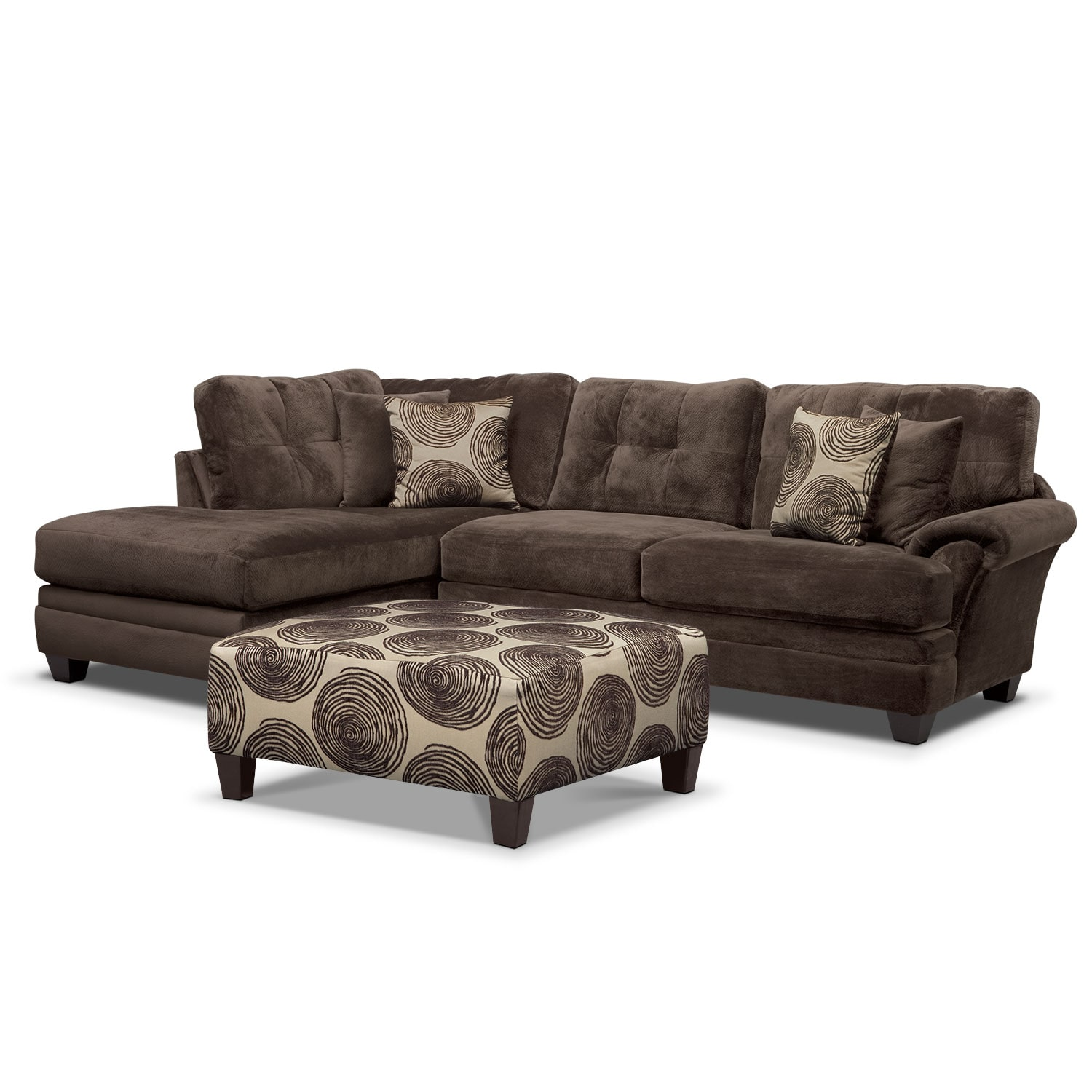 Living Room Furniture - Cordelle 2-Piece Left-Facing Chaise Sectional Plus FREE Cocktail Ottoman - Chocolate
